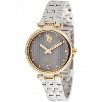 U.S. POLO Margot Crystals - USP5982GY,  Gold case with Stainless Steel Bracelet