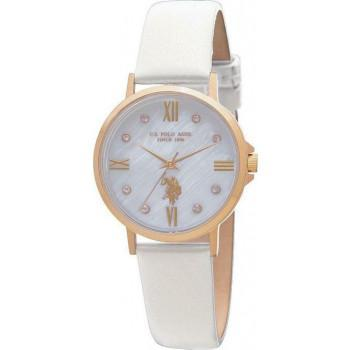 U.S. POLO Paxton - USP5993WH  Gold case  with White Leather Strap