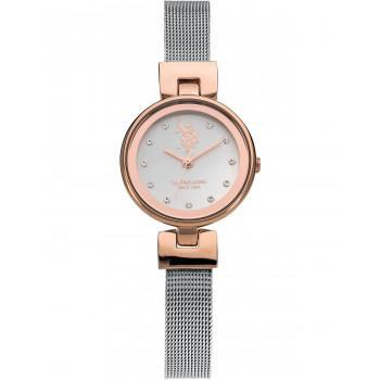 U.S. POLO Stardust Crystals - USP5609RG , Rose Gold case with Metallic Bracelet