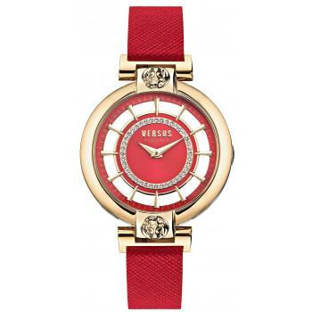 VERSACE  Versus Crystals Ladies - VSP1H0321,  Gold case with Red Leather Strap