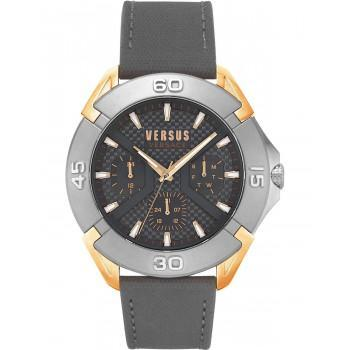 VERSACE Versus Rue Oberkampf - VSP1W0319,  Rose Gold & Grey case with Grey Leather Strap