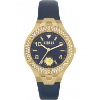 VERSACE  Versus Vittoria Crystals VSPVO0220,   Gold case with Blue Leather Strap