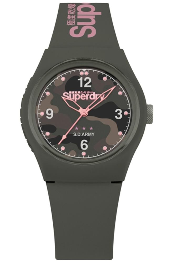 SUPERDRY Urban - SYL254NP, Khaki case with Khaki Rubber Strap