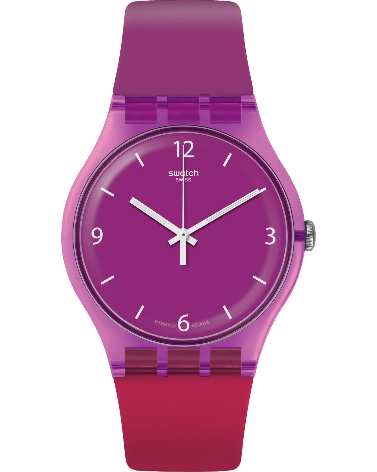 SWATCH Cherryberry - SUOV104 Purple Blue case with Purple & Red Rubber Strap