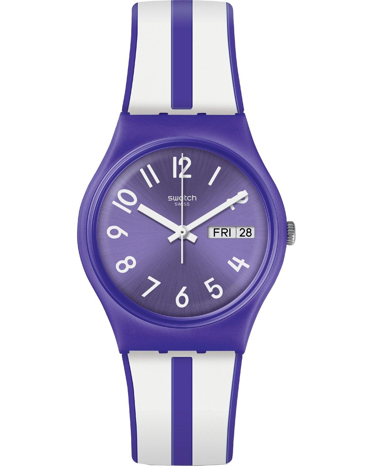 SWATCH Nuora Gelso - GV701, Purple case with Purple & White Rubber Strap