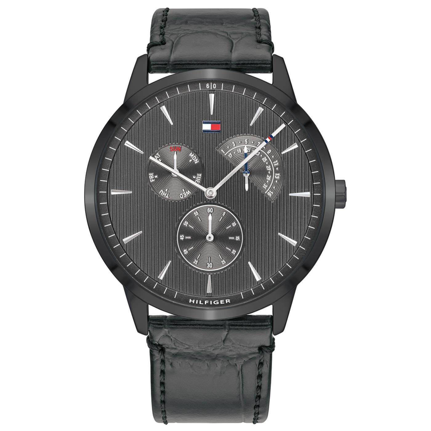 TOMMY HILFIGER Brad - 1710388, Black case with Black Leather Strap